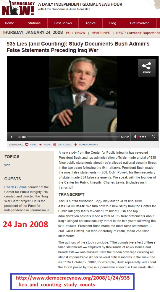 https://www.democracynow.org/2008/1/24/935_lies_and_counting_study_counts