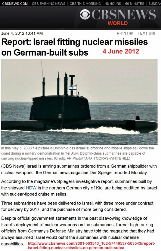 https://www.cbsnews.com/news/report-israel-fitting-nuclear-missiles-on-german-built-subs/
