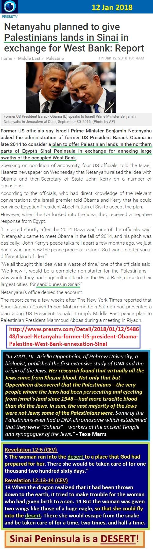 https://www.presstv.com/DetailFr/2018/01/12/548648/Israel-Netanyahu-former-US-president-Obama-Palestine-West-Bank-annexation-Sinai