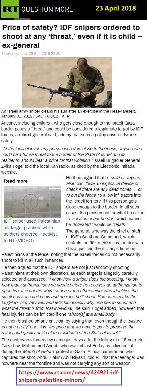 https://www.rt.com/news/424921-idf-snipers-palestine-minors/