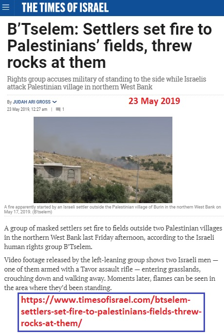 https://www.timesofisrael.com/btselem-settlers-set-fire-to-palestinians-fields-threw-rocks-at-them/