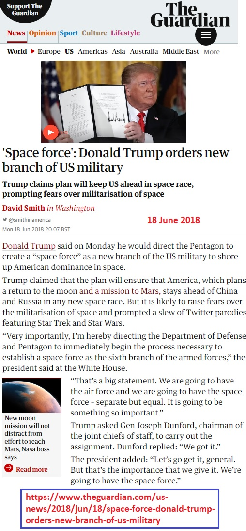 https://www.theguardian.com/us-news/2018/jun/18/space-force-donald-trump-orders-new-branch-of-us-military