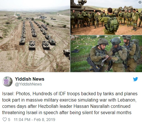 https://www.middleeastmonitor.com/20190209-israel-conducts-military-drills-simulating-war-with-hezbollah/